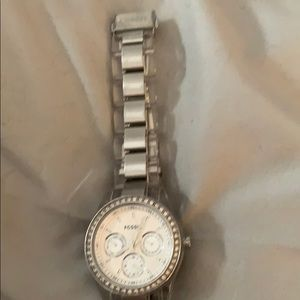Fossil watch with clear and silver band